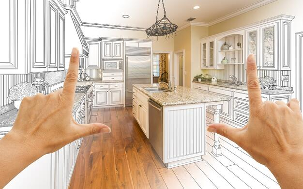 New kitchen blue print with visionary colours and features