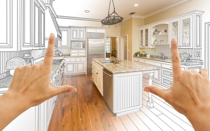 Kitchen blue print with visionary colours and features